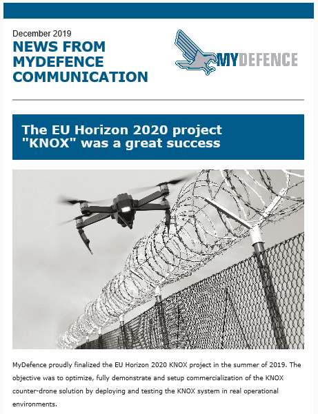 Newsletter from MyDefence presenting the results of the KNOX project